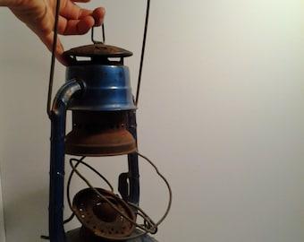 Vintage Dietz Lantern, Dietz Little Wizard, Blue with Red Globe, New York, USA