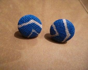 Stud Earrings - Blue Earrings, Burlap, Handcrafted, Chevron Earrings, Stud Earrings, Earrings, Jewlery
