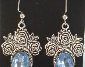 Antique Silver Roses and Faceted Blue Crystals = E 167