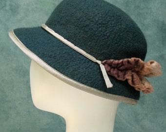 Lillian Hat- Hand Felted Merino- Wool- Green- Teal- Petrol- Cafe- Woman