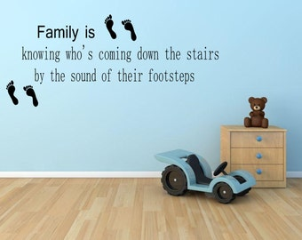 Family footsteps  Wall sticker, decal ,quote wall art home decor removable diy stickers sign words sticky letters