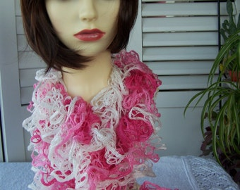 Hand Knitted Pink And White Flamenco Frilly Scarf