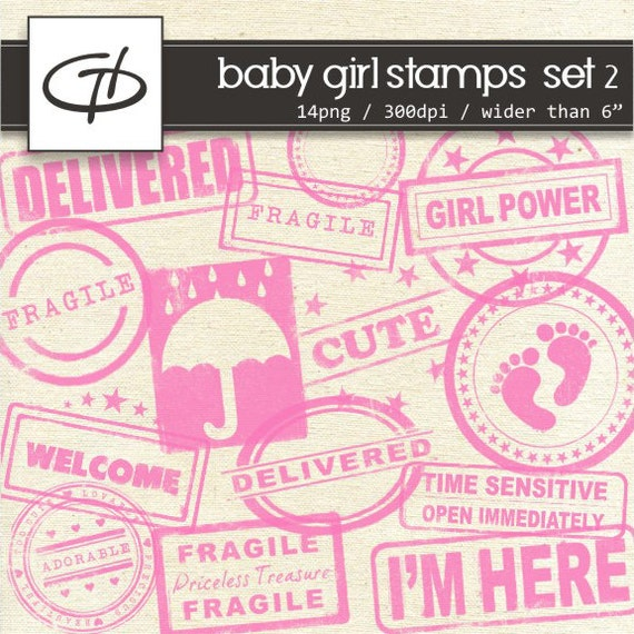 girl baby shower digital stamps set 2 high quality distressed stamps