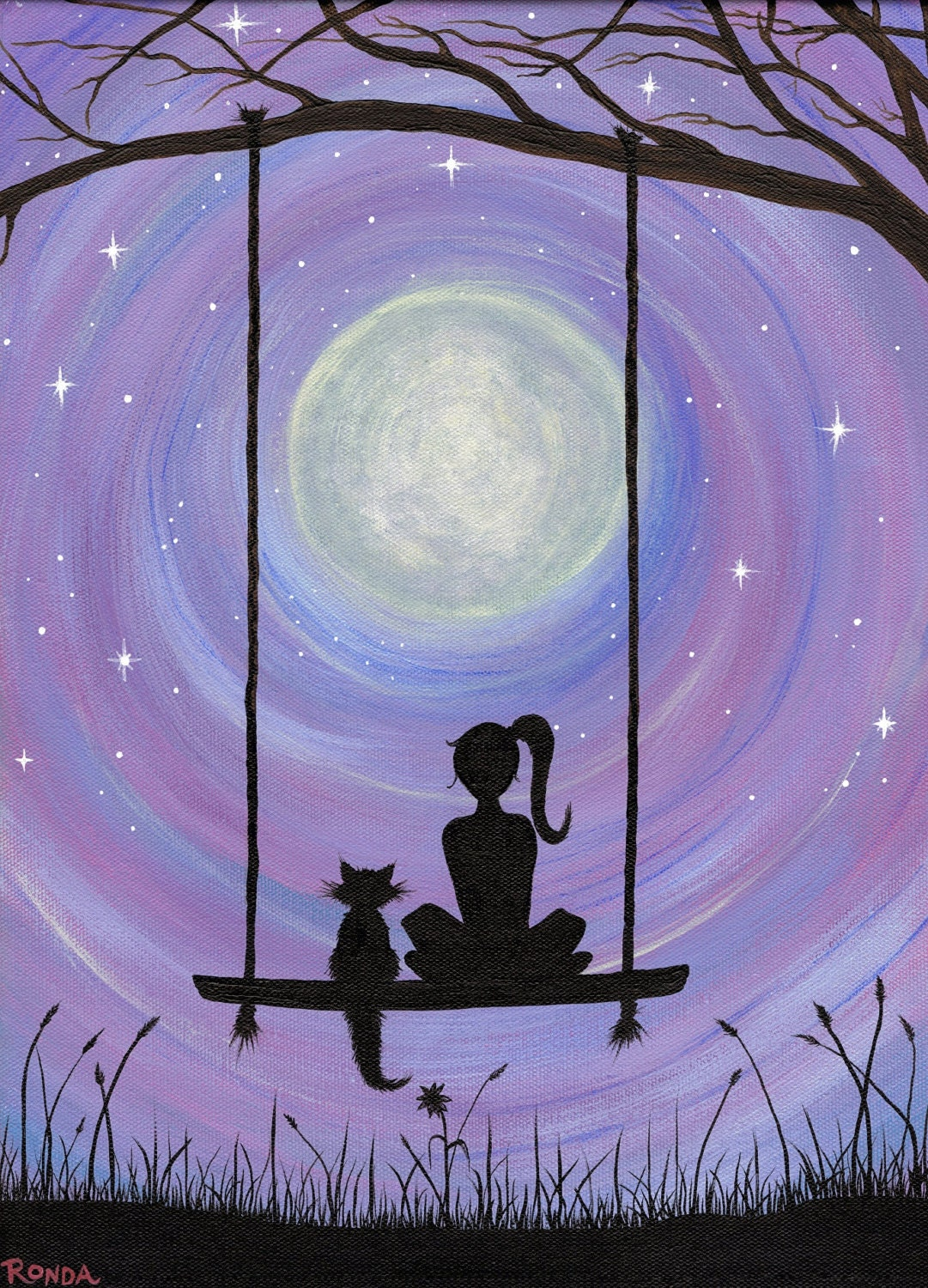 A Girl And Her Cat Sitting On A Swing Under The By