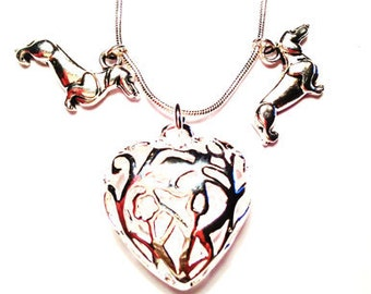 Dachshund Silver  ''Atlanta'' Necklace precious 3D Dachshund Charm