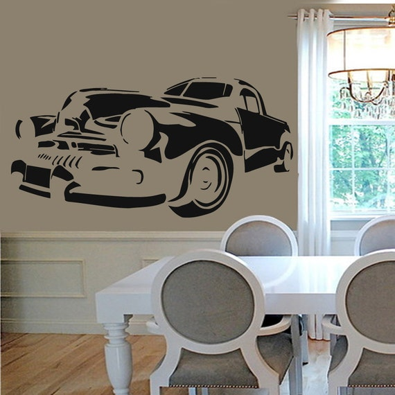 Vintage Auto Wall Decor : Wall decals retro car vintage auto home vinyl by