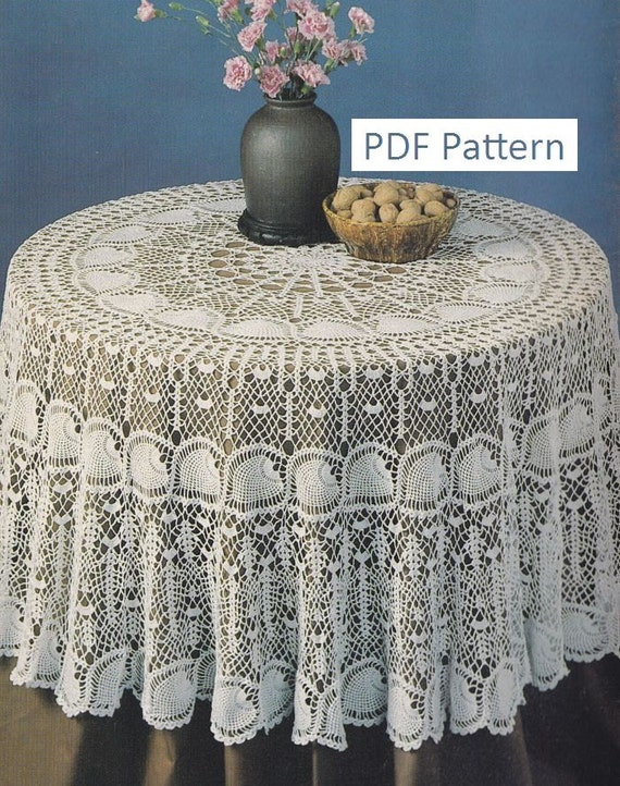 Crochet Patterns Round Tablecloth : Round Pineapple Tablecloth Crochet Pattern - PDF Instant Download ...