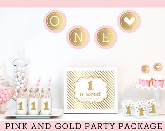 Baby Girl First Birthday Decorations - Pink and Gold Glitter First Birthday Theme - 1st birthday ideas for girls - Gold and Pink (EB4011FY)