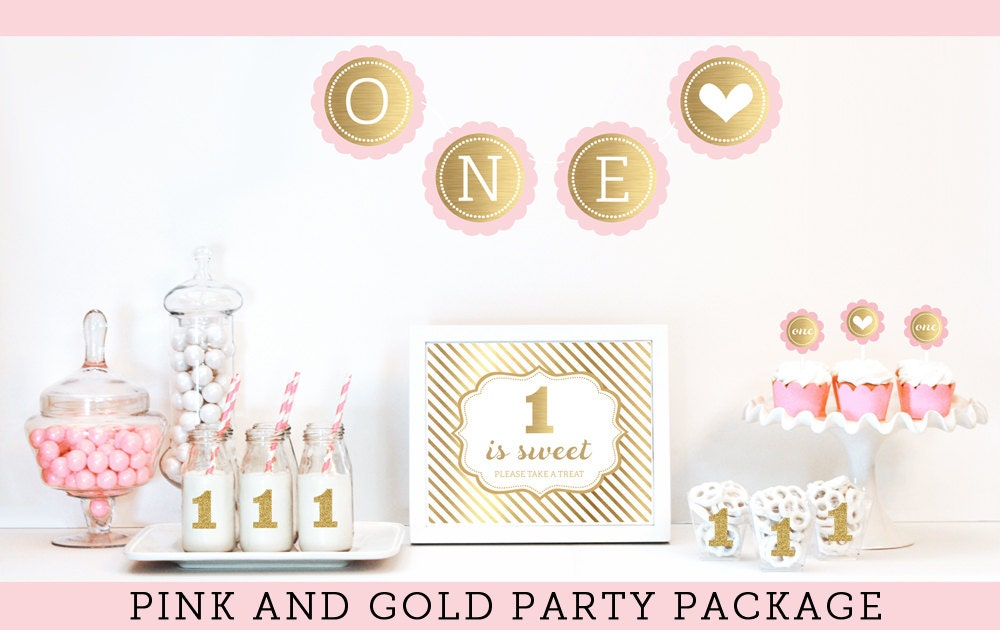 Baby girl first birthday decorations pink and gold glitter for Baby girl first birthday party decoration ideas