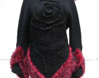 Crochet Sweater Modern Warm Sweater  Black Wool Sweater  Sweater with Rose  Hand Knitted Sweater Winter Sweater