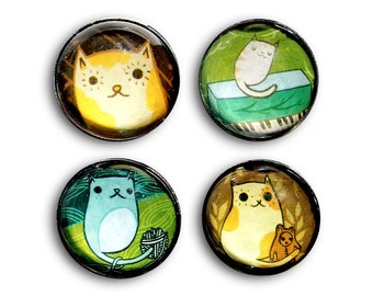 Magnet Set - Cat glass magnets, cat fridge magnet, cat magnets set, cat refrigerator magnets, handmade magnet