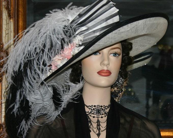 Featured listing image: Kentucky Derby Hat Edwardian Ascot Hat Downton Abbey Hat Titanic Hat Curved Brim Hat - Fair Lady - Black & White Hat Wide Brim Hat Womens