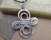 Big Aluminum Celtic Knot Infinity Swirl Cross Pendant, Aluminum Wire Necklace - Large Celtic Knot - Celtic Cross Jewelry - Unisex