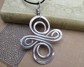 Big Aluminum Celtic Knot Infinity Swirl Cross Pendant, Large Celtic Cross Necklace, Celtic Cross Jewelry, Unisex Confirmation Gift