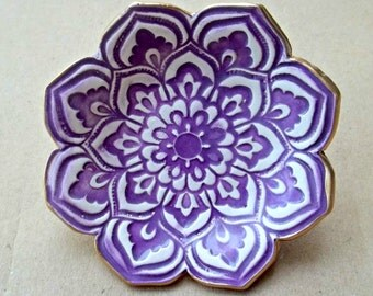 Purple Ceramic Lotus Ring Dish