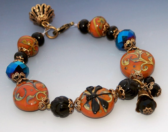 Black Dragonfly Lampwork Charm Bracelet, Autumn Flowers, Burnished Orange, Scrolls, Halloween