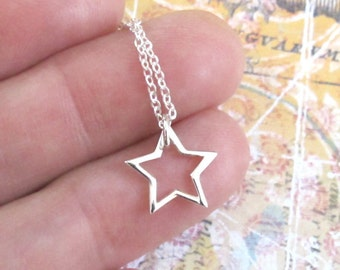 Sterling Silver Star Necklace Tiny Cutout Charm Chain DJStrang Wish Upon A Star