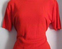 Bright Red Vintage 1950s Rockabilly Busty PinUp Girl Sweater XL 1X Soft!