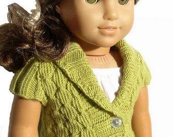 "Olive Cardigan Sweater - PDF Knitting Pattern For 18"" American Girl Dolls - Shawl Collar Seamless Doll Clothes Pattern - Instant Download"