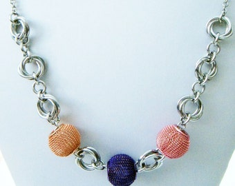 Orange Purple Pink Metal Bead Mobius Chainmaille Necklace Handmade