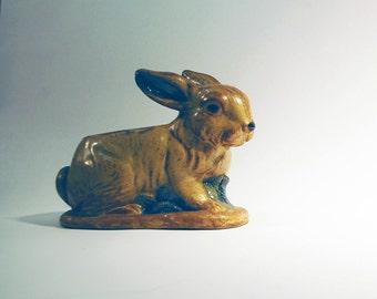 vintage ceramic bunny rabbit  planter container brown matte glaze natural