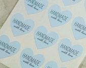 48 Handmade With Love Heart Stickers, Handmade Stickers, Handmade Labels, Blue Labels, Handmade With Love Stickers, Envelope Seals