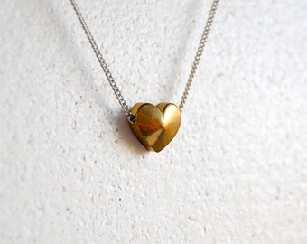 Tiny Heart Necklace. Vintage Brass Heart Charm. Small Layering Choker. Dainty Silver Chain. Delicate Everyday Minimal. FREE Shipping in US