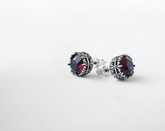 Burgundy earrings Swarovski stud earrings // Red swarovski studs // gift for girlfriend mother mom