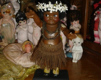 Vintage Kewpie Doll Composition Native Dancing Hula Girl Rare Wind Up Automation Carnival Doll