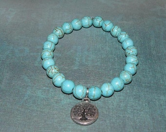 Tree Of Life Charm Magnesite Turquoise Bracelet