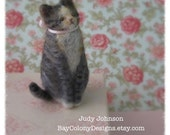 READY FOR ADOPTION - Miniature Needle-Felted Domestic Kitty Cat sculpture with Easter Pink ribbon bow (33114)