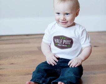 Baby Onesie, Half Pint, Organic Baby Bodysuit, Organic Romper, Screen printed, 3-6m, 6-12 mo, 12-18mo by Sweetpea and Co.