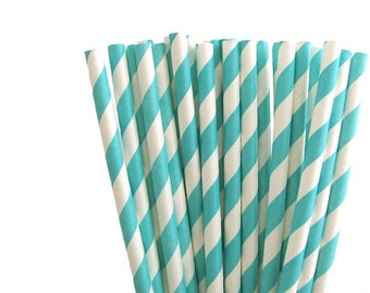 SALE - 25 Aqua Blue Straws - Paper Straws - Striped Straws - Standard Size Drinking Straws - Paper Party Supplies - Soda Straws