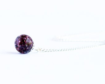 Dark amethyst purple shattered glass cracked marble pendant necklace on delicate silver curb chain