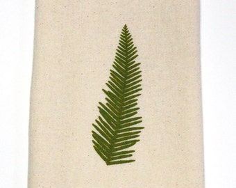 Flour Sack Dish Towel - Umbrella Fern Design,  Screen Printed in Dark Olive Green - 100% cotton tea towel