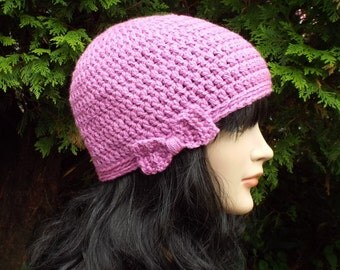 Orchid Crochet Hat, Womens Beanie with Bow, Ladies Winter Cap, Light Purple Ski Hat