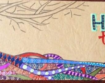 Handmade Bookmark OOAK -- Honor Thy Roots -- Agate Bead Tassel Laminated Original Art  -- 2.5 x 7.75 inches -- BKM-ORG-10