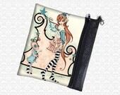 Amy Brown fantasy art Delilah Jasper, Circus Fairy & Friend, school supply zippered pouch, art supply bag, makeup bag, travel bag wristlet