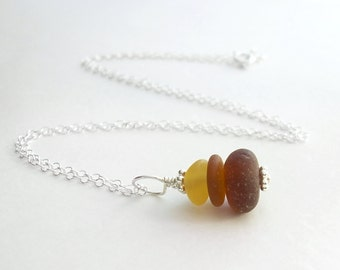 Small Amber Sea Glass Pendant, Brown Ombre Jewelry, Real Beach Glass Necklace