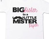 Mustache big sister shirt big sister to a little mister Tshirt