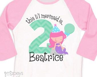 Birthday girl shirt li'l mermaid birthday girl personalized raglan shirt - li'l mermaid theme party tshirt