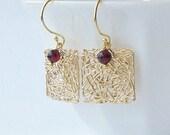Garnet Dangle Earrings, Valentine Jewelry Gift, January Birthstone