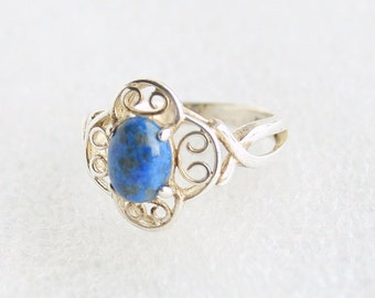 Blue Lapis Sterling Ring 925 Silver Vintage Filigree Lapis Lazuli Ring