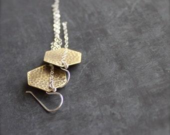 Sterling Silver Brass Hexagon Earrings - Gold Brass, Dangle Earrings, Geometric Hexagon, Textured Brass, Chain Tassel, Grey Oxidized Patina