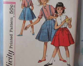 Simplicity 4961 - Girls' Wrap Skirt & Blouse - Vintage Pattern - Easy - Size 8 - Retro 1960s - Suspender Skirt - Back to School - UNCUT