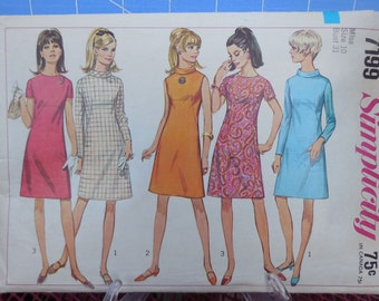 Simplicity 7199 - Totally Mod A-Line Dress - Several Styles in One Envelope - Size 10 (Bust 31) - Sundress - Cocktail Dress - Sheath - Easy