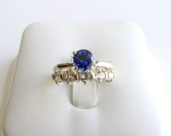 Wedding Ring Set Sapphire Ring Sterling Silver September Birthstone Lab Created Made To Order