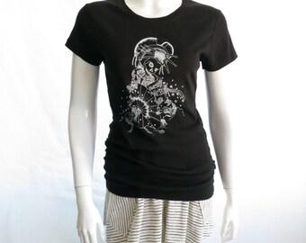 Oiran skull cotton jersey T shirt, screen print t shirt, cotton jersey t shirt, skull print t shirt, black t shirt, jersey top, women's tee