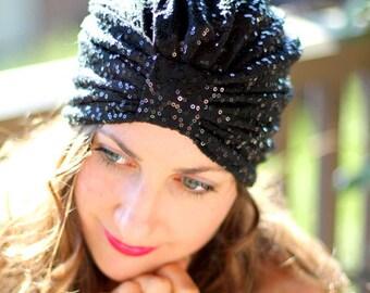 Sequin Turban in Black by Mademoiselle Mermaid
