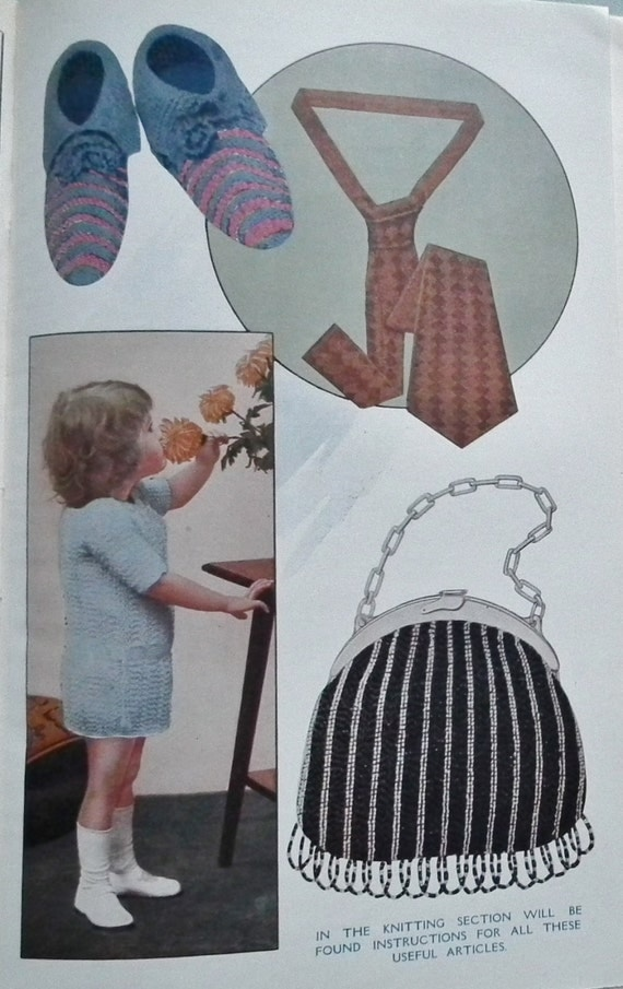 Vintage Knitting Patterns 1920s : Antique Book 1920s Sewing Knitting Patterns Vintage